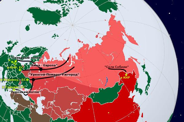 Карта-схема экспортных газопроводов в РФ на начало 2021 г.