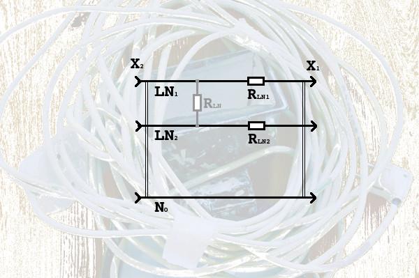 Электрическая схема - эквивалента удлинителя.
