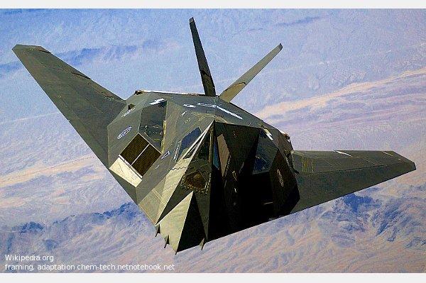 Внешний вид истребителя-бомбардировщика Локхид F-117 (начала 21 века) дает представление о технике будущего, инопланетной техники.